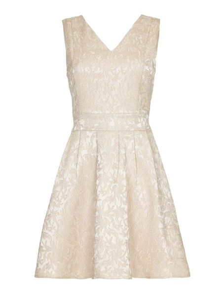 Mela London Cream Textured Lace Skater Dress