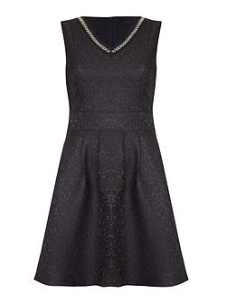 Black Skater Dress With Beaded Neckline