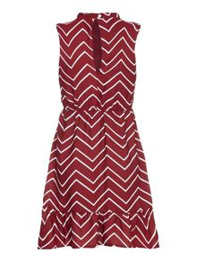 Mela London Blue Chevron Printed Sleeveless Dress