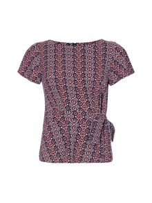 Yumi Wrap Top With Red Print