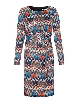 Printed Jersey Dress With Long Sleeves