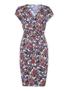 Yumi Jersey Wrap Dress With Floral Print
