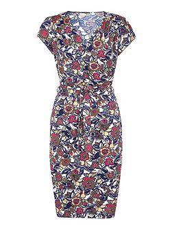 Jersey Wrap Dress With Floral Print