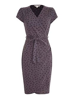 Grey Fern Wrap Dress With Short Sleeves