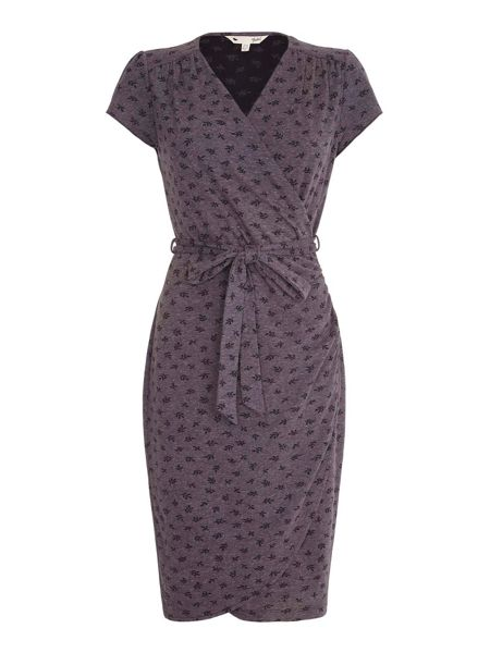 Yumi Grey Fern Wrap Dress With Short Sleeves