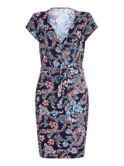 Jersey Wrap Dress With Floral Paisley Print