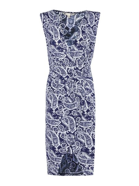 Yumi Navy Sleeveless Dress With Paisley Print