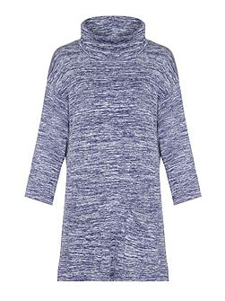 Navy Knit Dress With Cowl Neck