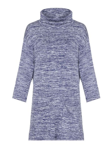 Yumi Navy Knit Dress With Cowl Neck