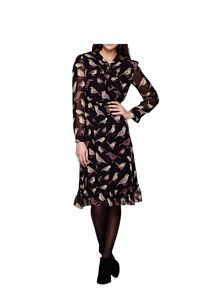 Yumi Black Midi Dress With Bird Print
