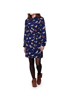 Yumi Shirt Dress With Blue Bird Print