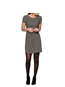 Yumi Black Short Sleeve Dress With Crane Print