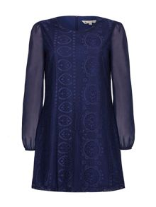 Yumi Shift Dress With Floral Lace
