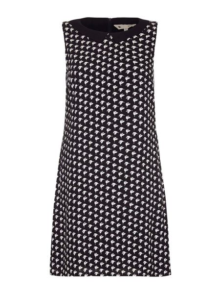 Yumi Bird Print Sleeveless Dress With Collar