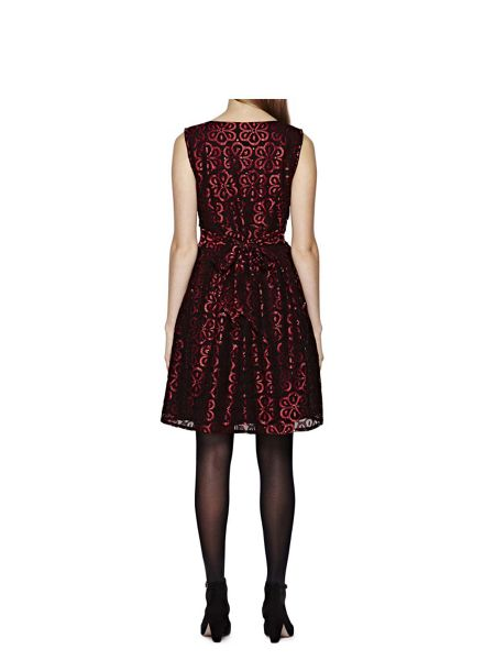 Yumi Red Lace Party Dress With Sequins