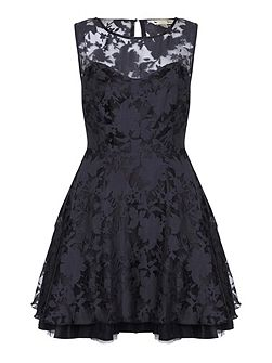 Black Flower Organza Occasion Dress