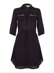 Yumi Black Zip Dress With Collar
