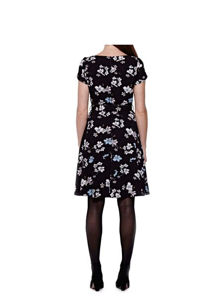 Yumi Short Sleeve Dress With Floral Print