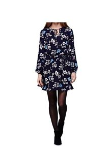 Yumi Tie Dress With Floral Print