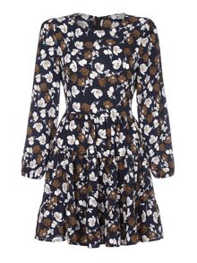 Yumi Flower Print Long Sleeve Pleat Dress