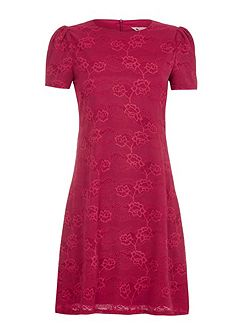Floral Lace Shift Dress With Short Sleeves