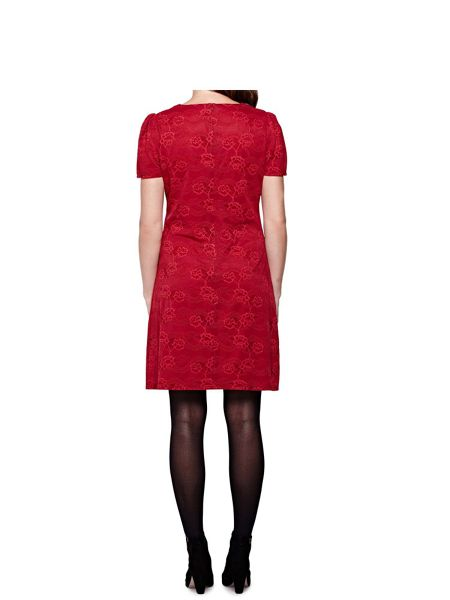 Yumi Floral Lace Shift Dress With Short Sleeves