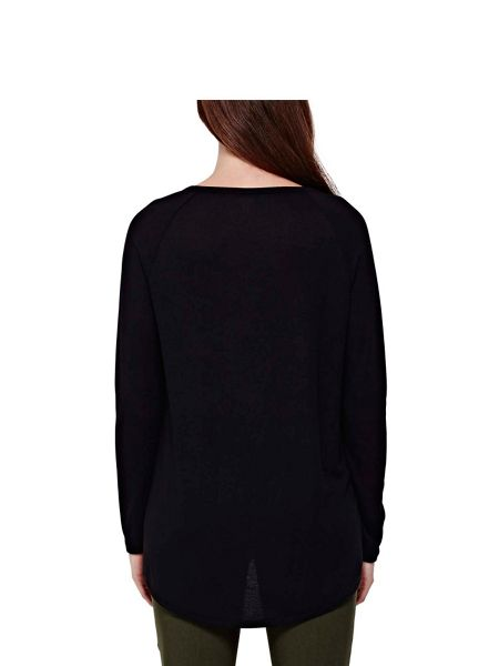 Yumi Black Bird Print Top With Long Sleeves