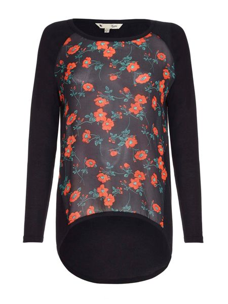 Yumi Black Poppy Print Top With Long Sleeves