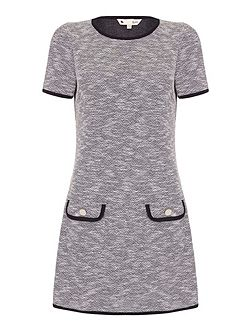 Grey Short Sleeved Knit Jersey Dress