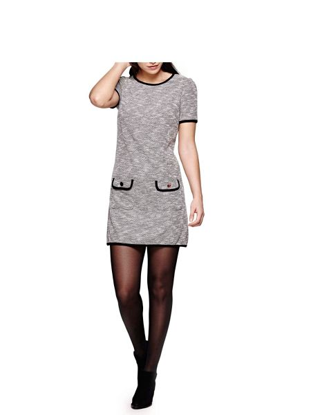 Yumi Grey Short Sleeved Knit Jersey Dress