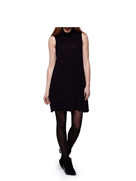 Yumi Black Swing Dress With Roll Neck