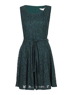 Lace Sleeveless Belted Dress