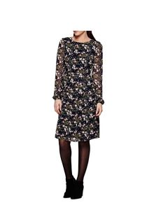 Yumi Navy Flower Print Midi Dress