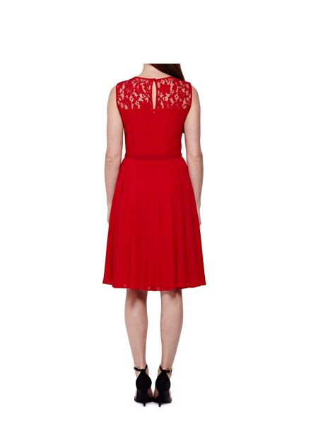 Yumi Red Lace Party Dress With Diamantes