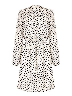 Cream Midi Dress With Spot Print