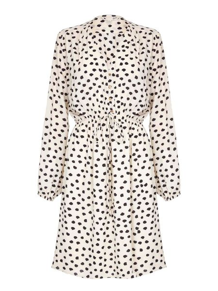 Yumi Cream Midi Dress With Spot Print