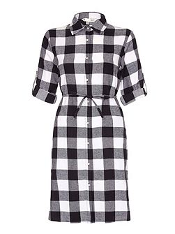 Black Plaid Flannel Shirt Dress