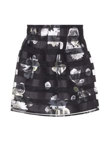Yumi Striped Floral Organza Occasion Skirt
