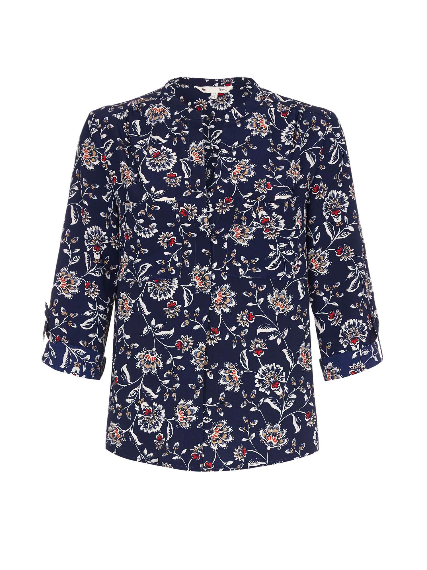 Yumi Navy Blouse With Floral Print Navy