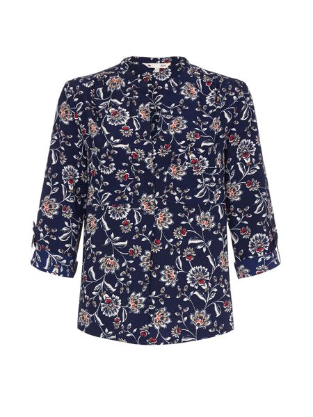 Yumi Navy Blouse With Floral Print