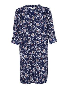 Navy Tunic Dress With Floral Print