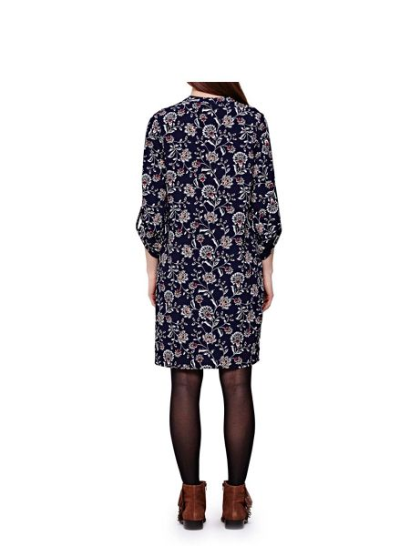 Yumi Navy Tunic Dress With Floral Print