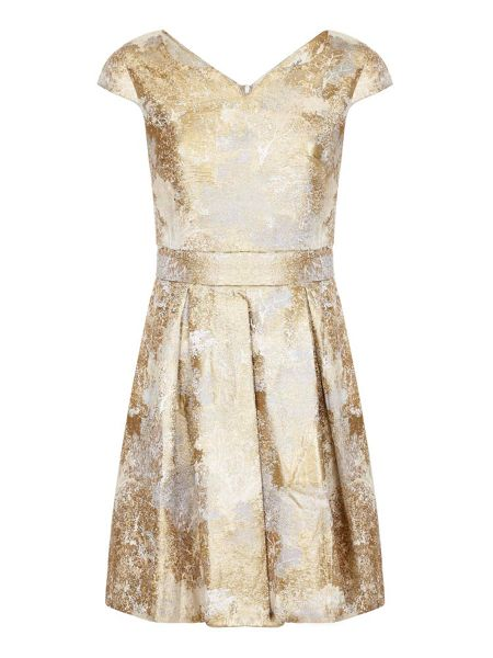 Yumi Gold Foil Print Party Dres