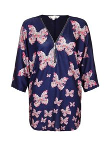 Yumi Beige Butterfly Printed Top