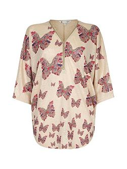Beige Butterfly Printed Top