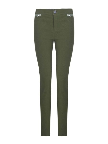 Yumi Green Skinny Jeans With Zip Pocket