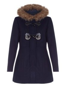 Yumi Faux Fur Hood Wool Coat