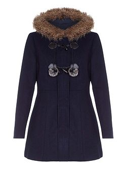 Faux Fur Hood Wool Coat