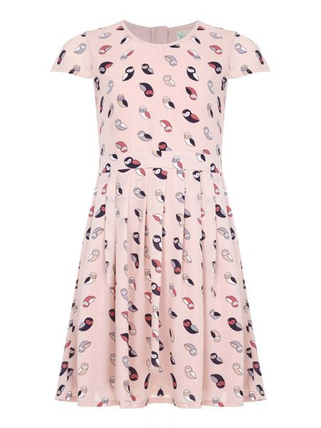 Yumi Girls Pink Owl Printed Pleated Dress