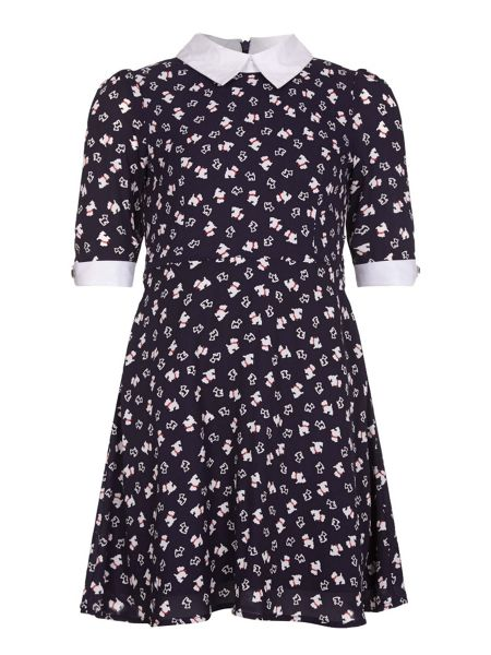 Yumi Girls Dog Printed Skater Dress
